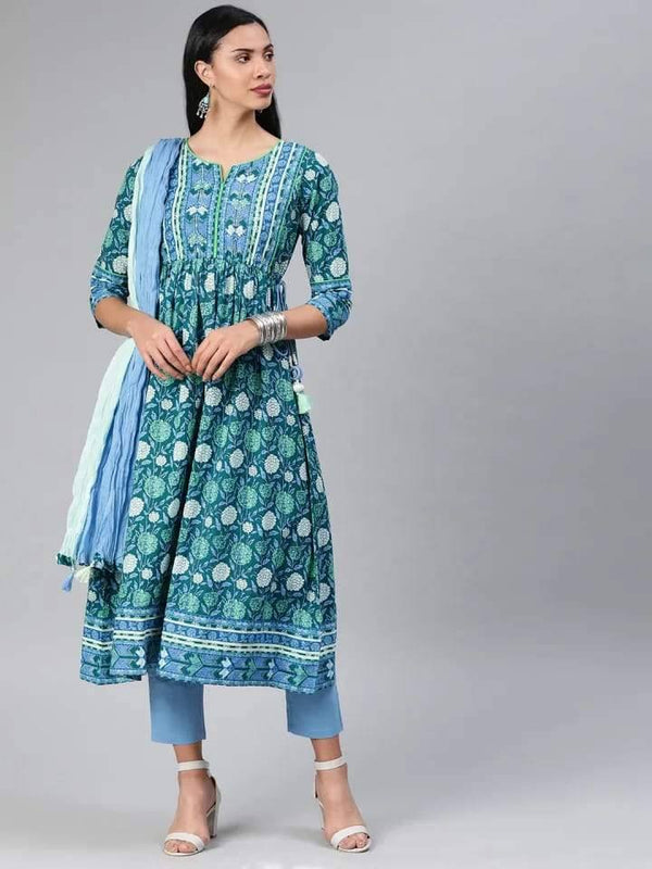 Blue and Green Anarkali Make To Order Kurta With Trouser And Dupatta