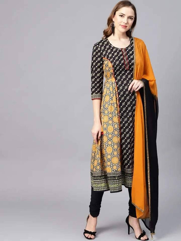 Mustard and Black Anarkali Make To Order Kurta With Churidhar And Dupatta
