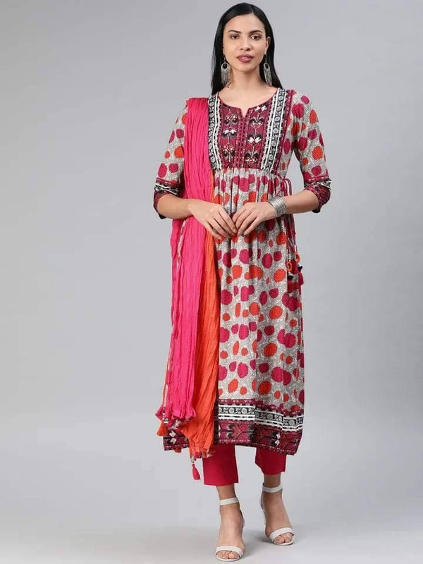 Pink and Orange Anarkali Make To Order Kurta With Trouser And Dupatta