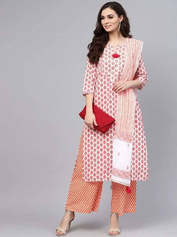 White and Orange Straight Make To Order Kurta With Palazzo And Dupatta