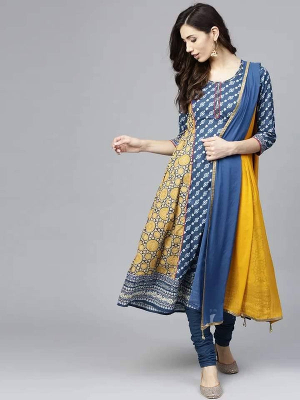 Mustard and Blue Anarkali Make To Order Kurta With Churidhar And Dupatta