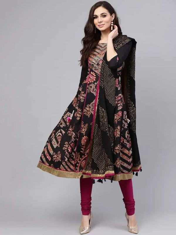 Black Anarkali Make To Order Kurta Set With Churidhar and Dupatta
