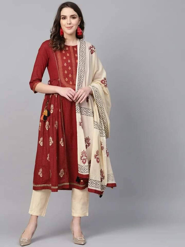 Maroon & Cream Printed Make To Order Solid Kurta With Trousers And Dupatta