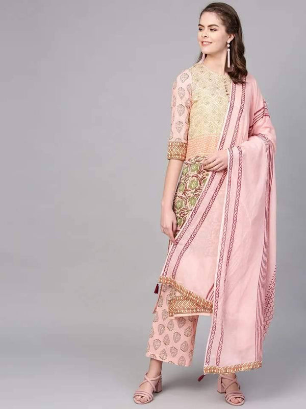 Light Pink and Green Make To Order Kurta Set With Palazzo and Dupatta
