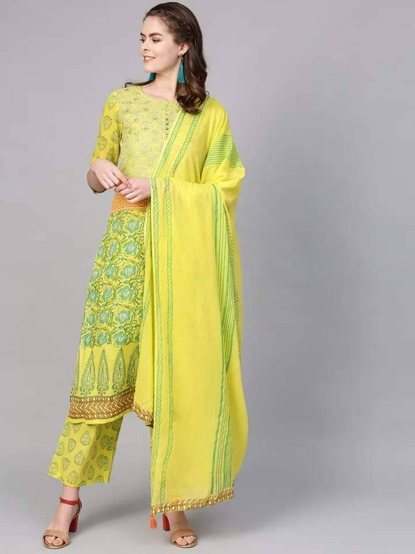 Yellow and Green Make To Order Kurta Set With Palazzo and Dupatta