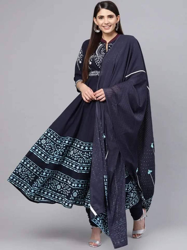 Navy Blue & White Yoke Design Make To Order Kurta Set With Churidhar and Dupatta
