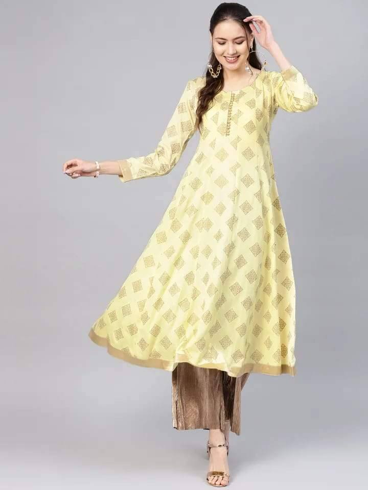 Readymade Lemon Yellow Anarkali Long Kurti