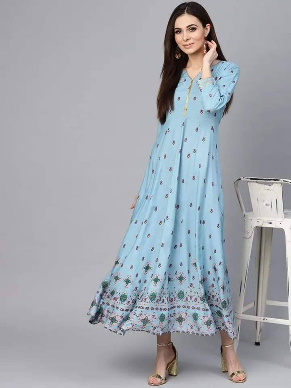 Readymade Aqua Blue Color Long Printed Kurti