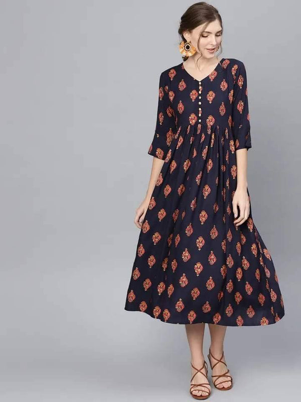 Ready Made Navy Blue Printed Flared Kurti