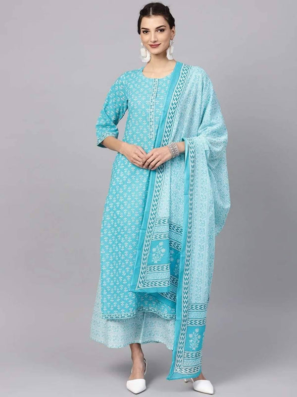 Readymade Aqua Blue Printed Cotton Kurta With Palazzo And Dupatta