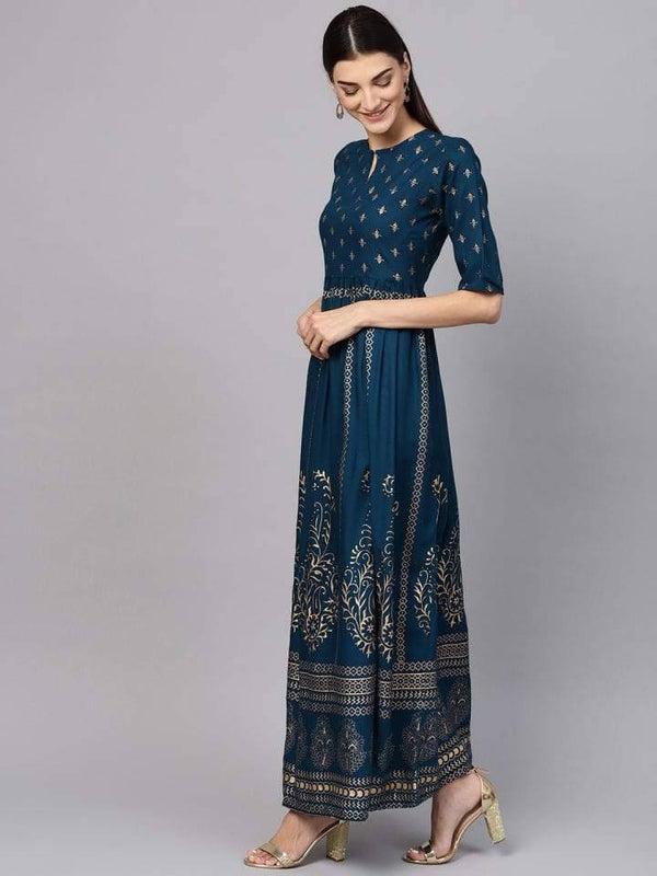 Readymade Prussian Blue Color Gold Foil Printed Long Kurti