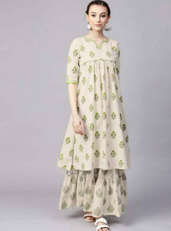 Readymade Beige Printed Cotton Kurta With Skirt