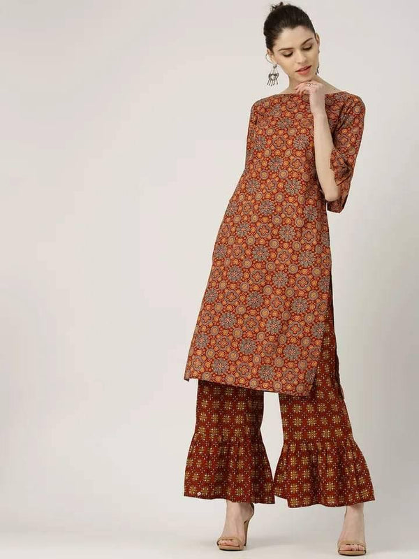 Rust and Olive Straight Make To Order Kurta With Bell Shape Palazzo