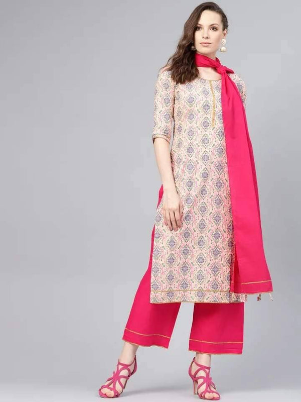 Light Cream & Fuchsia Make To Order Kurta,Palazzo With Dupatta