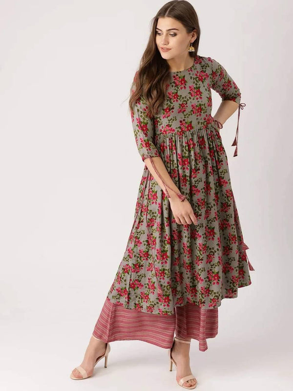 Grey & Pink Printed Make To Order Kurta & Palazzo