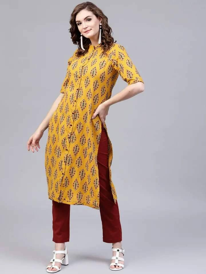 Ready Made Mustard Yellow Printed Kurta Set With Pants