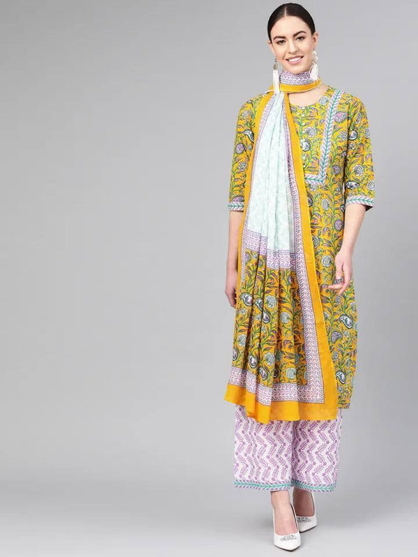 ReadyMade Yellow & Green Printed Kurta Palazzo Set With Dupatta.