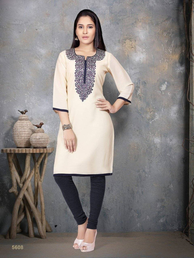ReadyMade Party Wear Off-White Georgette Thread Work Kurti