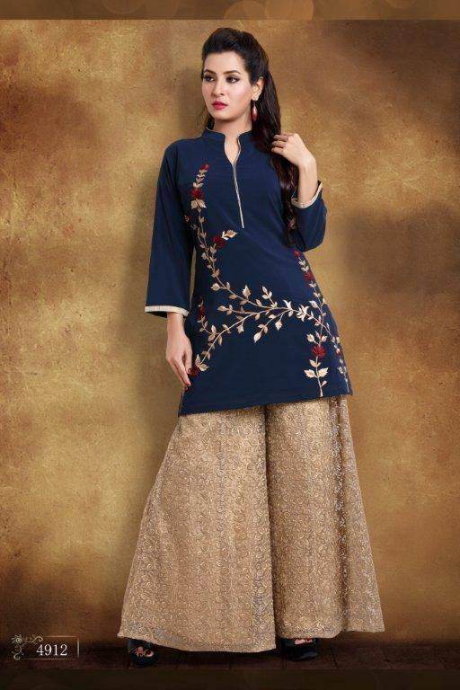 Ready Made Party Wear Navy Blue Georgette Thread Work Kurti