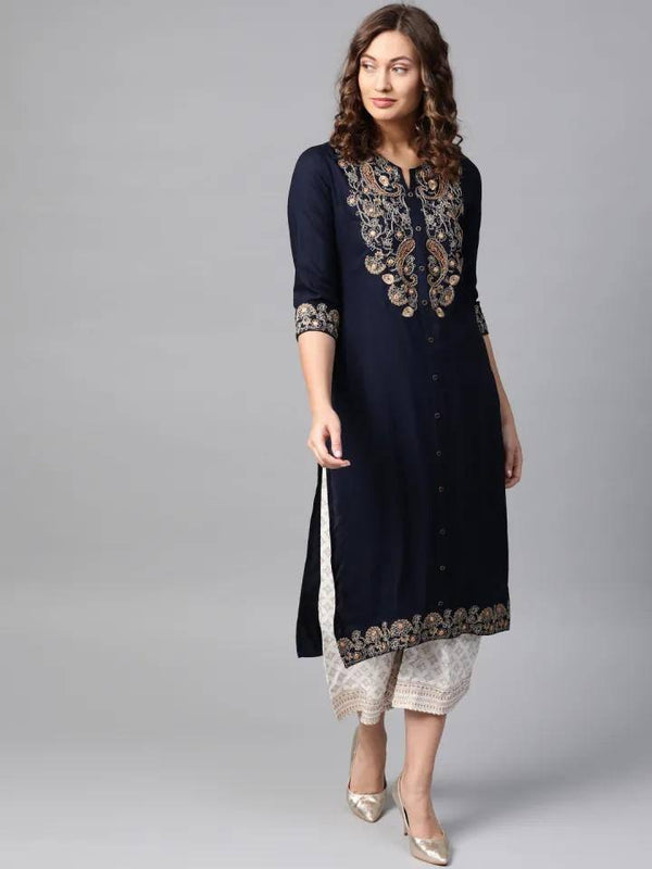 Readymade Navy Blue & Off-White Yoke Design Kurta with Palazzo