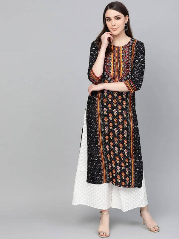 ReadyMade Black & Off-White Printed Kurta with Palazzos