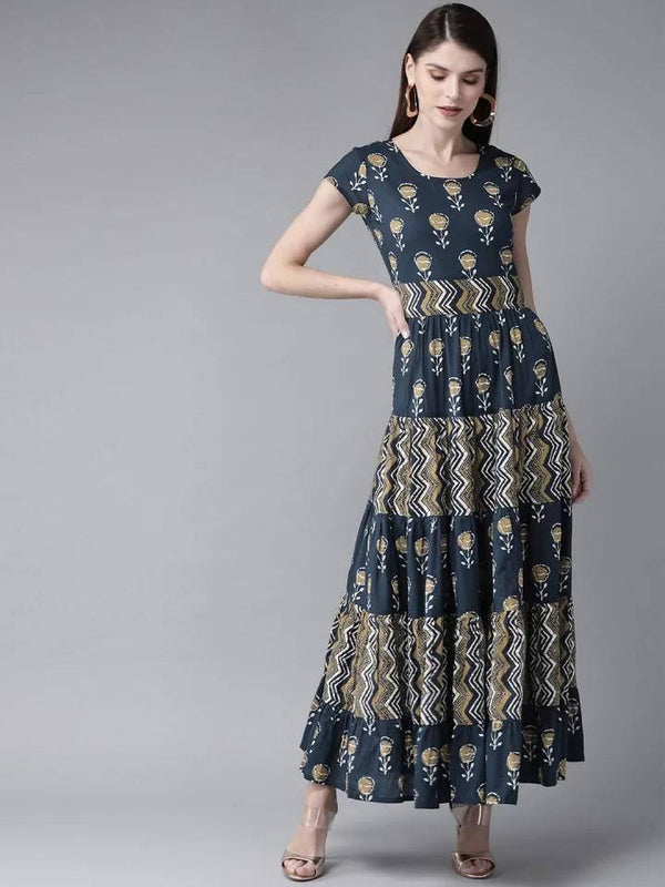 Ready Made Navy Blue & Beige Printed Maxi Dress