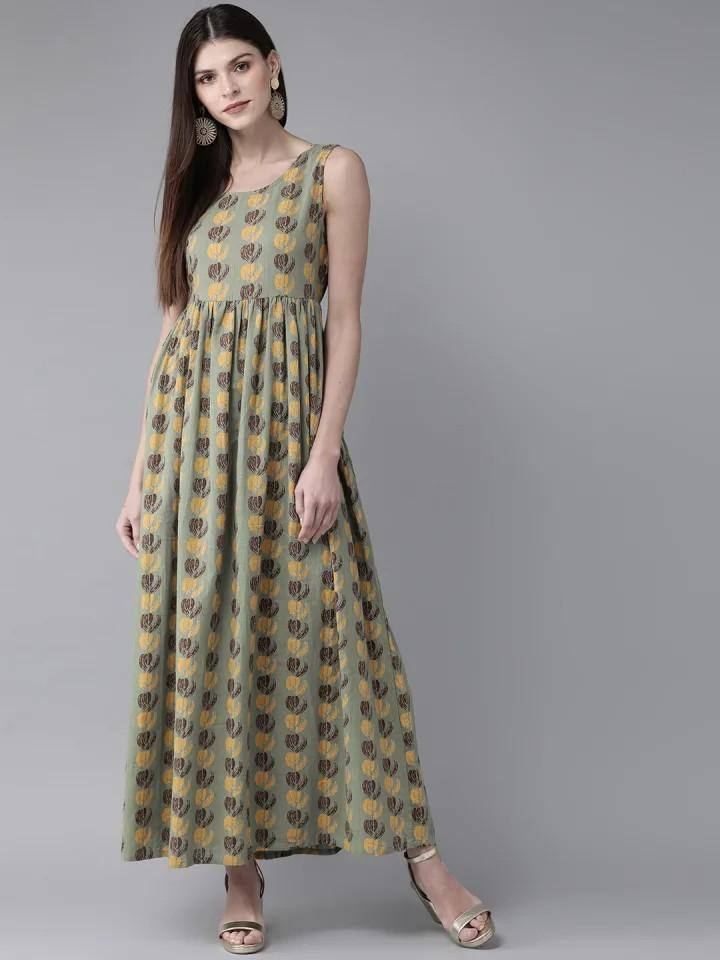 Ready Made Green & Yellow Printed Maxi Dress