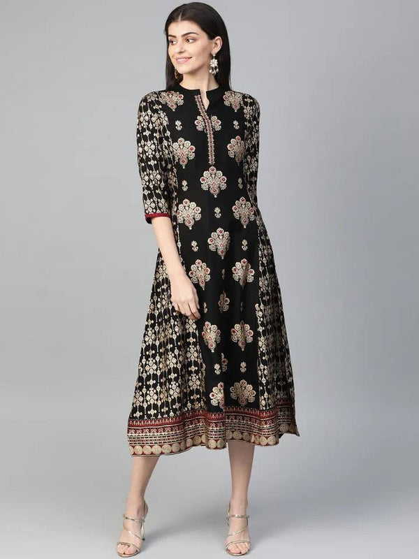 ReadyMade Black & Golden Printed A-Line Dress