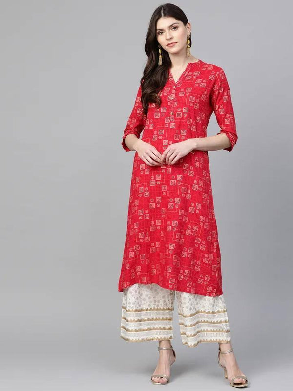 Coral & Off-White Printed Kurta with Palazzo