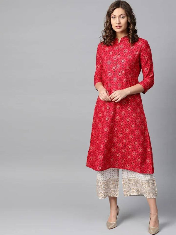 Red & Off-White Foil Print Kurta with Palazzos