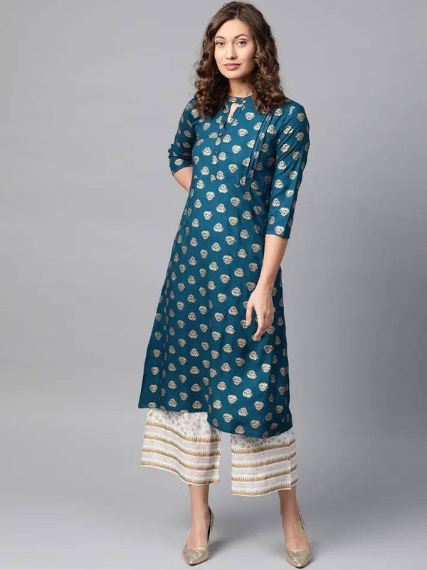 Teal Blue & Off-White Foil Print Kurta with Palazzo