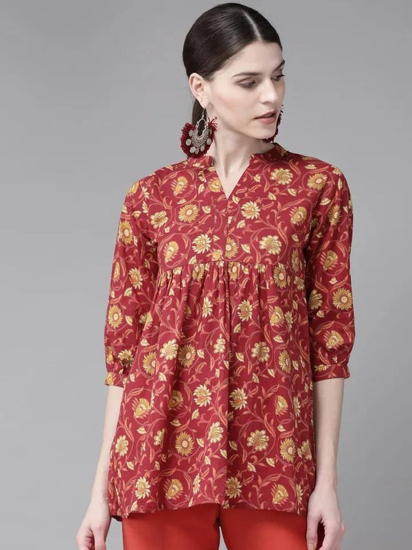 Red & Mustard Yellow Floral Print A-Line Kurti