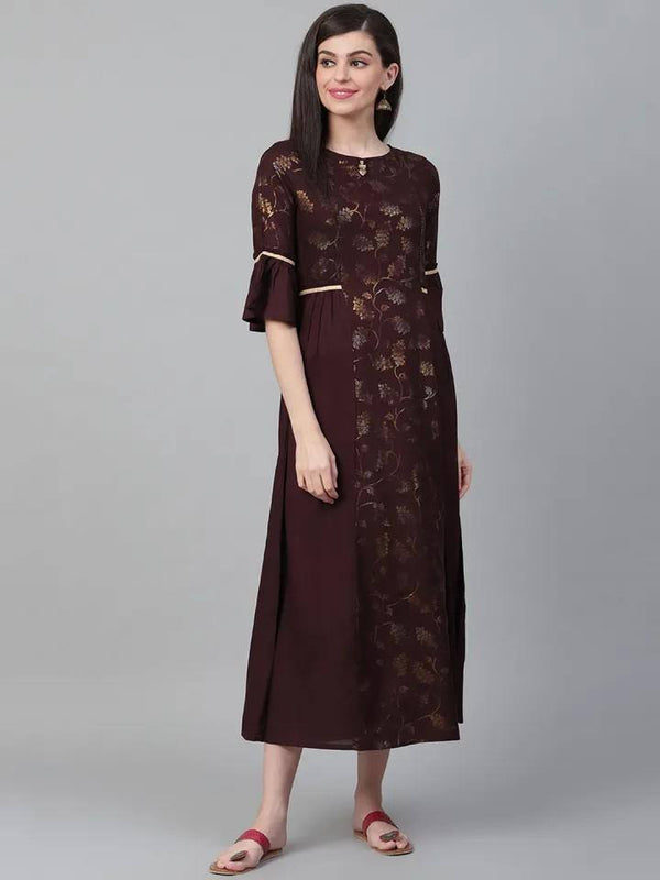 Coffee Brown & Golden Ethnic Printed Maxi Dress