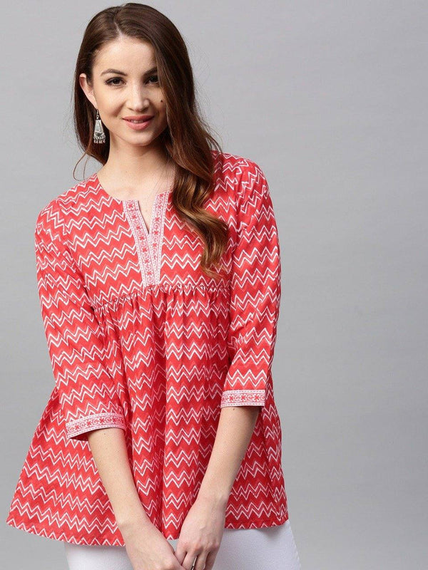 Ready Made Red & Off White Cotton Flared Kurti