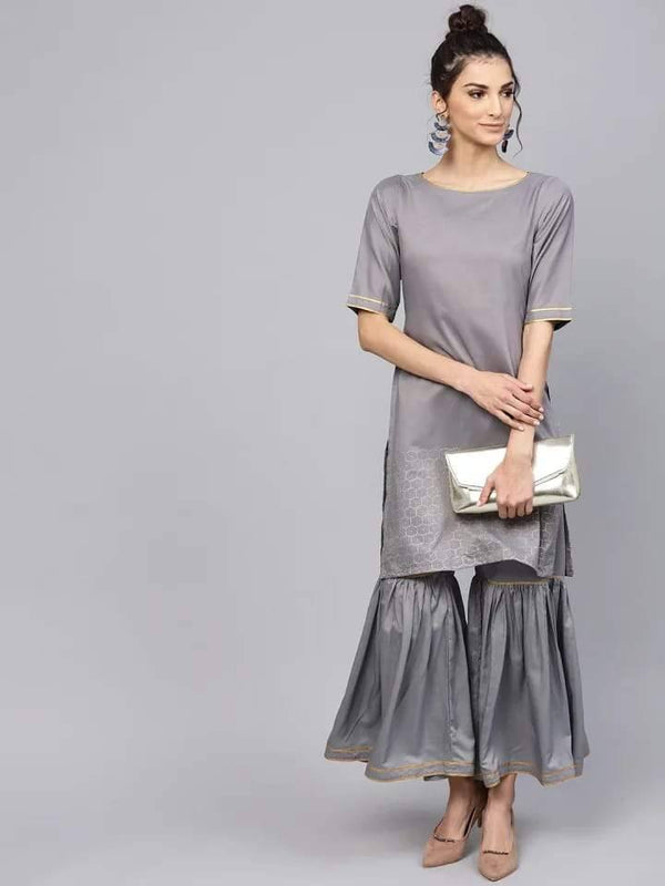 ReadyMade Cotton Silk Silver Grey Kurta with Sharara