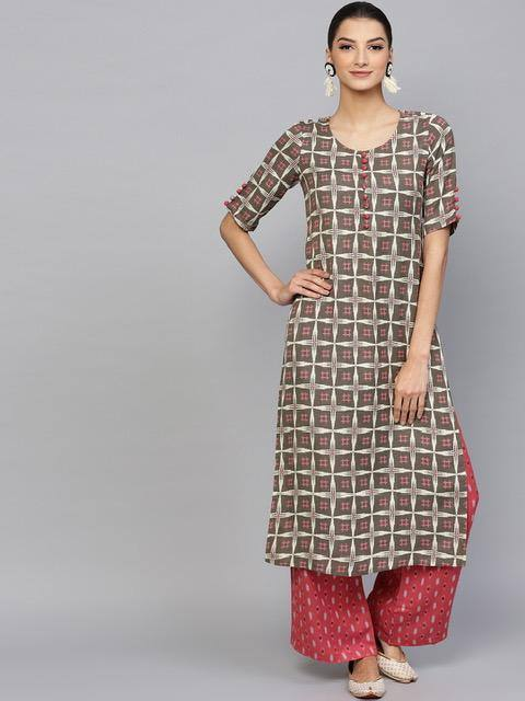 ReadyMade Olive Brown & Red Printed Kurta with Palazzo
