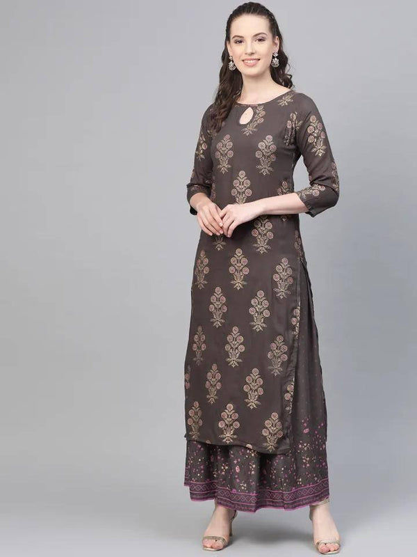 Ready Made Charcoal Grey & Golden Printed Kurta with Skirt