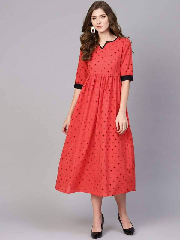 Red Cotton Printed Flared Maxi Dress