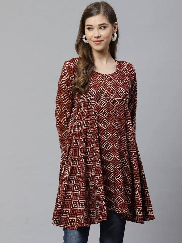 Brown & Beige Printed Tunic