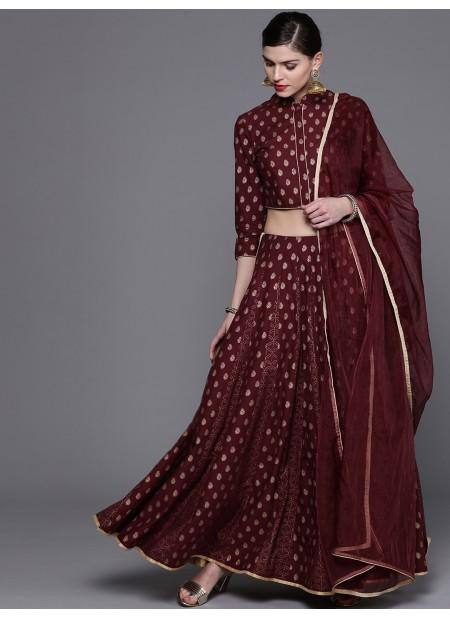 Burgundy & Golden Printed Lehenga Choli With Dupatta