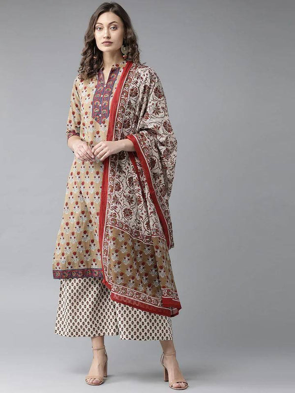 Beige & Off-White Printed Kurta with Palazzos & Dupatta