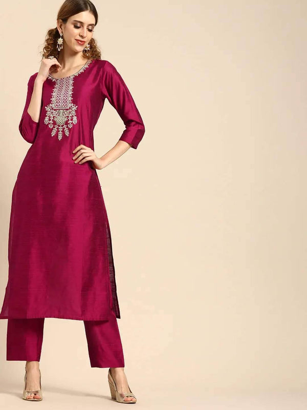 ReadyMade Magenta Pink Embroidered Kurta with Trousers