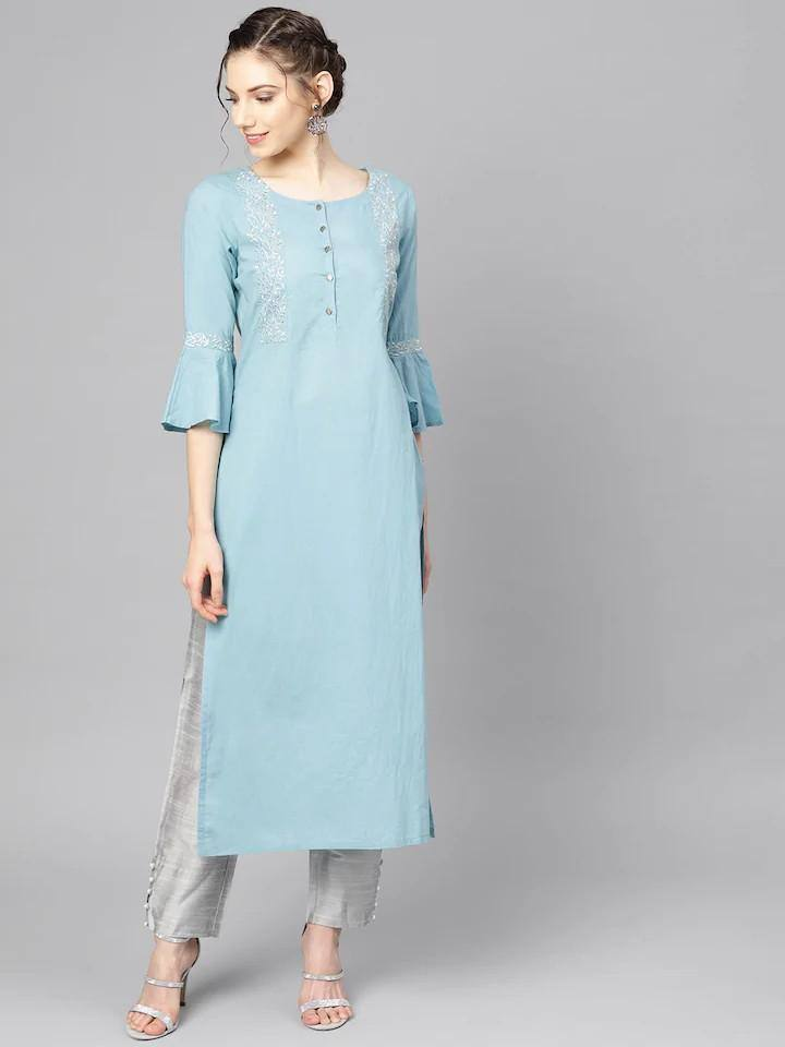 Blue & Grey Solid Kurta with Trousers
