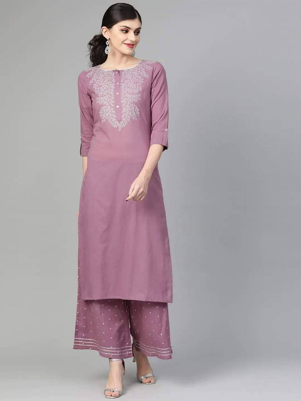 Ready Made Mauve & Silver Yoke Design Kurta with Palazzo