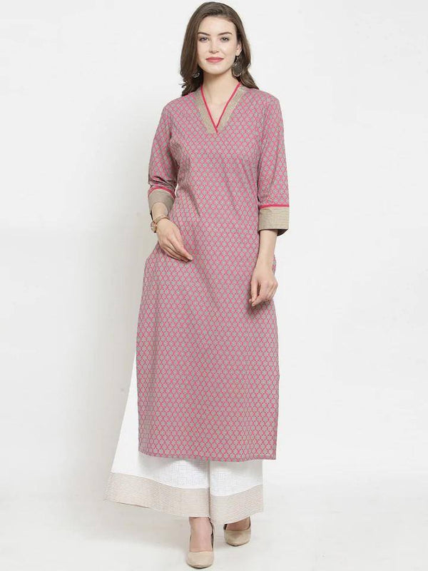 Ready Made Magenta & White Printed Kurta With Palazzo