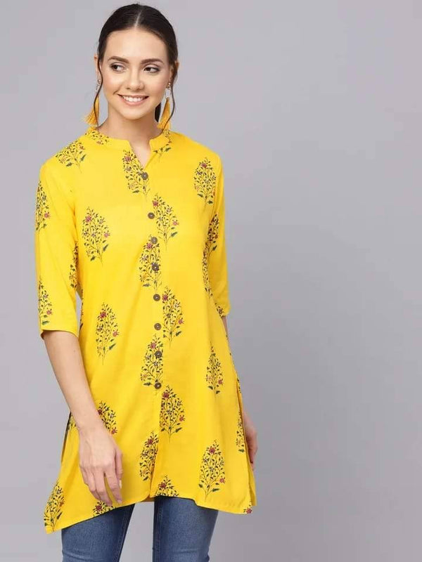 Yellow Floral Print Straight Kurti