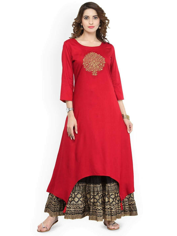 Ready made  Red & Black Embroidered Kurta with Skirt