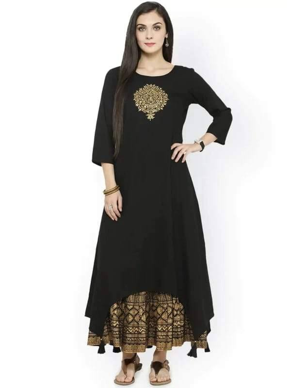 Ready Made Black Embroidered Kurta with Skirt - www.riafashions.com