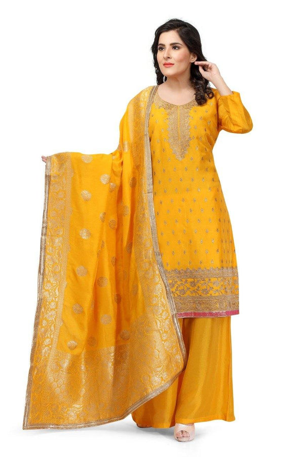 Ready Made Mustard Yellow Hand Embroidered Silk Salwar Suit With Banarsi Silk Dupatta