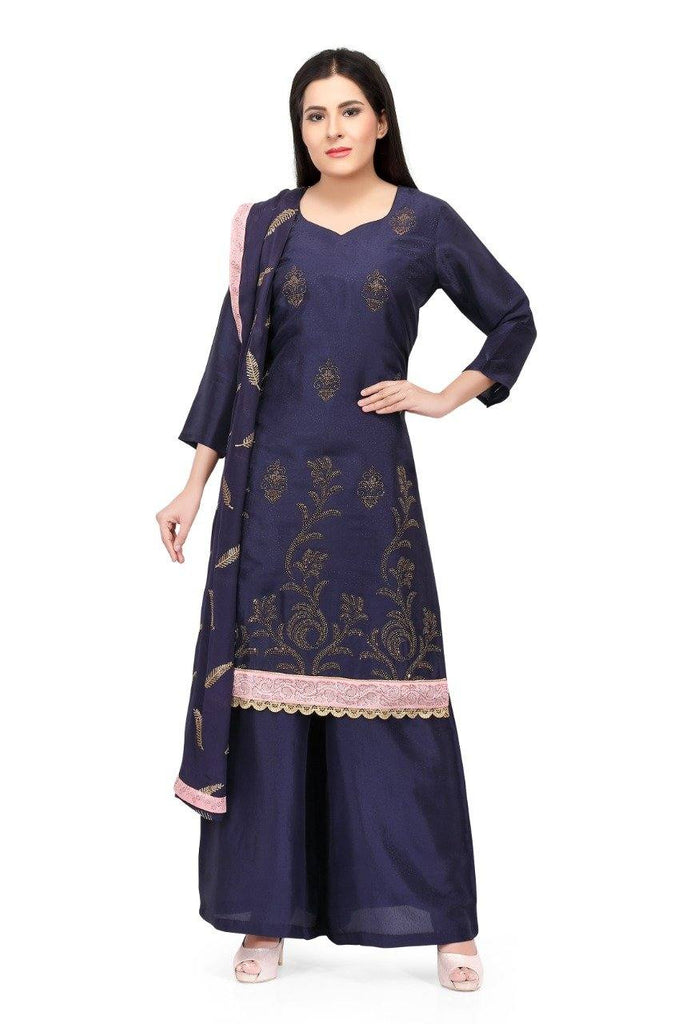 Ready Made Navy Blue Silk Hand Embroidered Salwar Suit